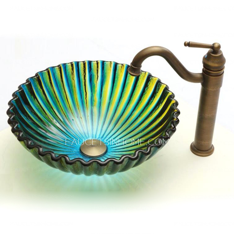 Art Glass Vessel Sinks Shell Shape Blue And Green