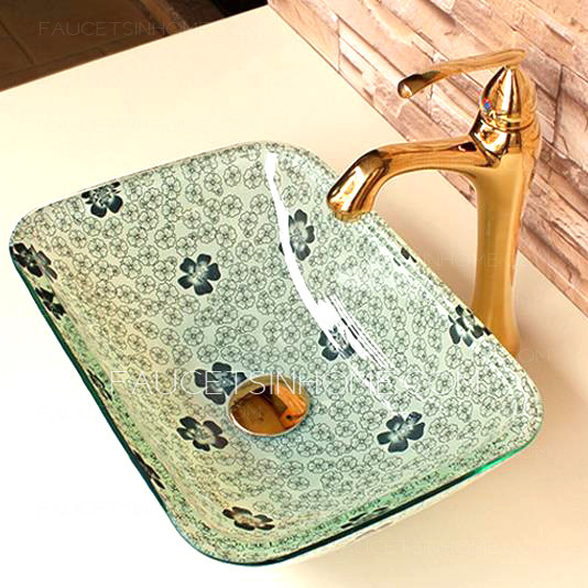 Rectangular Glass Vessel Sink Antique Floral Colored Glazed Green