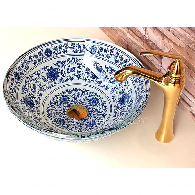 Blue And White Vessel Sink : Home > Vessel Sinks > Glass Vessel Sinks Blue and White Vintage ...