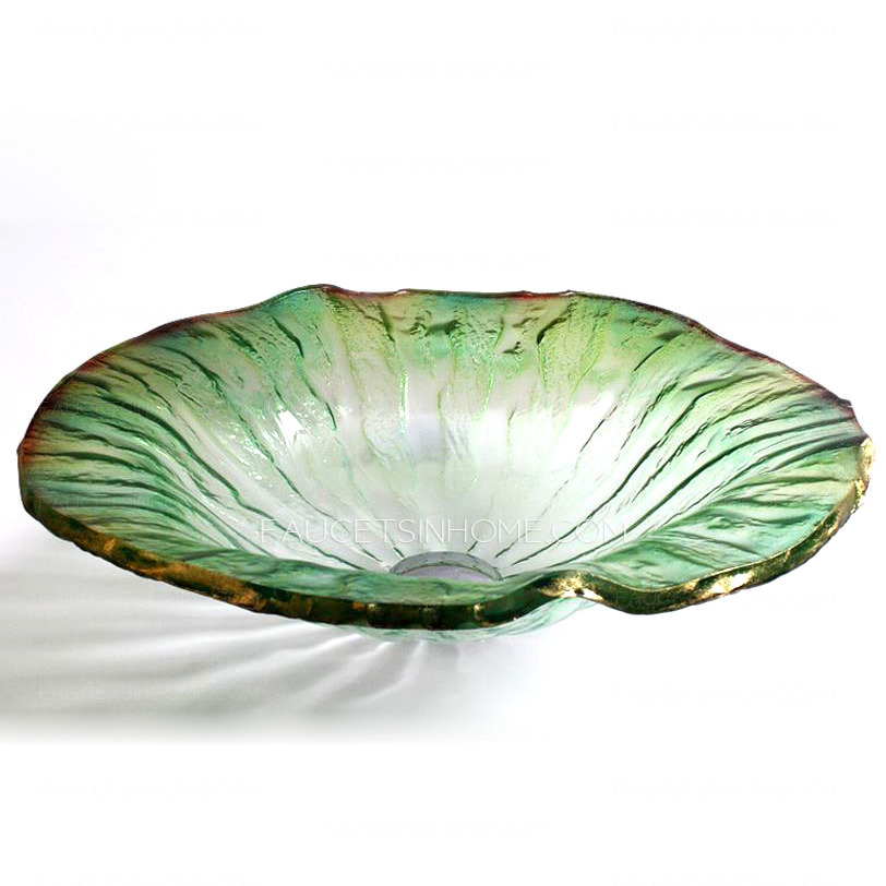 . Clear Glass Vessel Sinks Lotus Leaf Shape Green