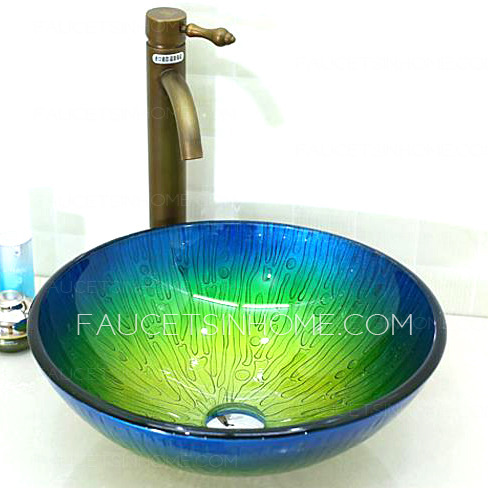 Glass Vessel Sinks Blue and Green Mediterranean (Faucet Included)