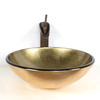 Glass Vessel Bathroom Sink Gold Helicoid (Faucet Included)
