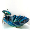 Blue Glass Vessel Sinks For Bathrooms Shell Shape (Faucet Included)