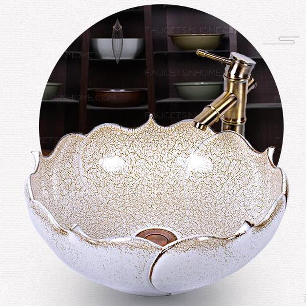 Ceramic Round Shaped Smooth Beige Vessel Sink