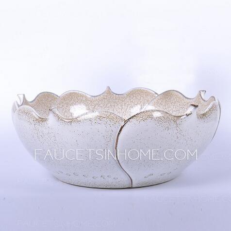 Asian Ceramic Round Shaped Smooth Beige Vessel Sink