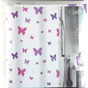 Unique Fabric Shower Curtain And Butterfly Purple Color