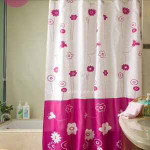 Funky Kids Shower Curtain And Waterproof Floral Print Purple