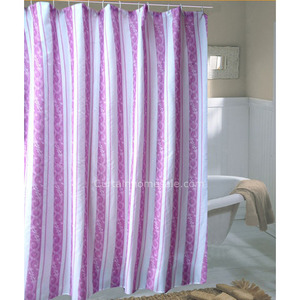 Affordable Striped Print Purple Color Ruffle Shower Curtain