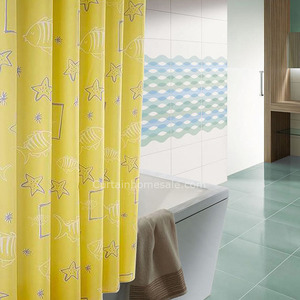 Wholesale Print Waterproof Yellow Color Luxury Shower Curtain