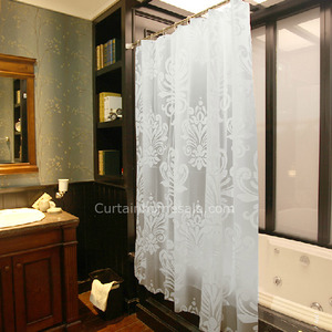 Cheap White Patterned Print Machine Wash Hotel Shower Curtain