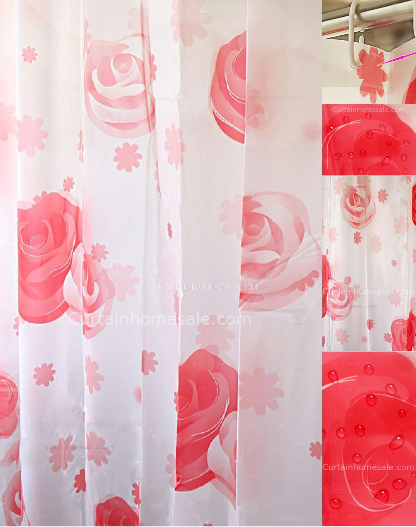 Funky shower curtains - Pastoral Fancy Shower Curtain And Funky Red Color Bathroom