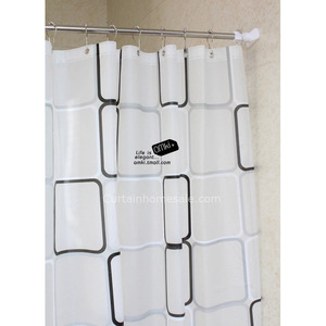 Fabulous Plaid EVA Black Color Pretty Shower Curtain
