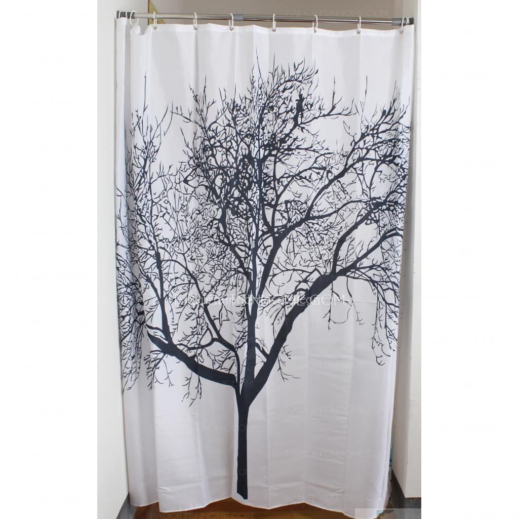 White Color Patterned Toile Pocket Shower Curtain
