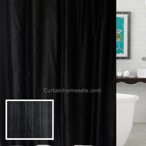 Organic Black Color Waterproof Toile Fun Shower Curtain