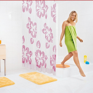 Wholesale Floral Print Pink Color Personalized Shower Curtain