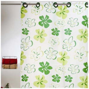 Unique Floral Green Color Extra Long Shower Curtain