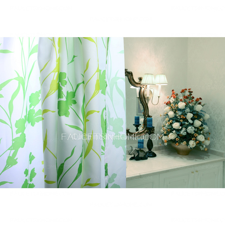 Inexpensive Leaf Green Color Country Shower Curtain