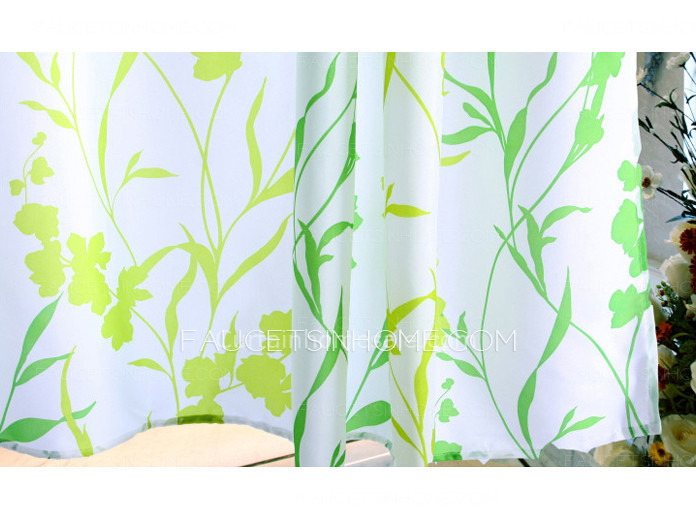 Leaf Green Color Country Shower Curtain