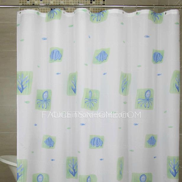 Waterproof White Color Animal Stylish Vinyl Shower Curtain