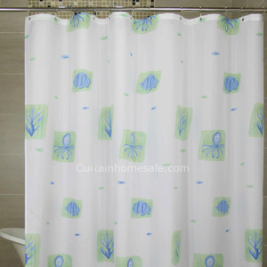 Waterproof  White Color Animal Stylish Vinyl Shower Curtain
