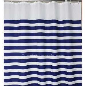 Asian Nautical Blue Toile Western Shower Curtain And Bathroom