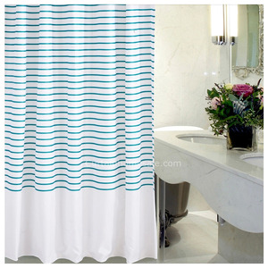 Custom Striped Teal Color Print Shower Curtain Ideas