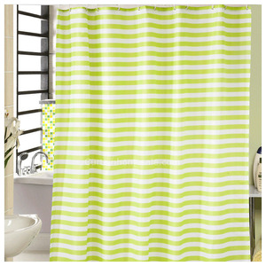 French Aqua Color Striped Waterproof Kids Shower Curtain