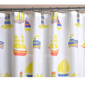 Ready Made White Satin Print Corner Shower Curtain Rod