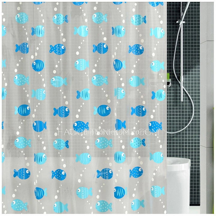 Stylish Blue Color Animal Print Fish Pattern PEVA Shower Curtain