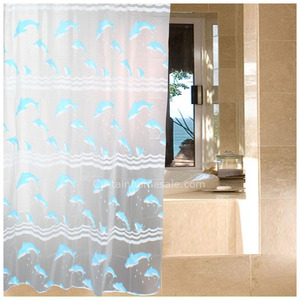 Wholesale Baby Blue Waterproof Print Vinyl Shower Curtain