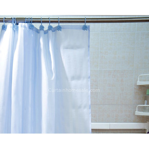 Bright Blue Polyester Waterproof Flip Flop Shower Curtain