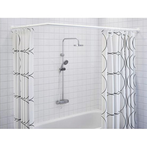 Simple White Painting Flexible 35.4-68.9 Inch Shower Curtain Rod