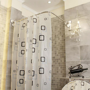Affordable L Shaped White Shower Curtain Rod (No Punch)