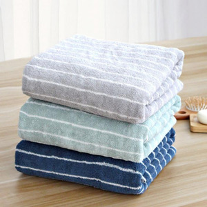 Affordable Striped Cotton 55*27.5 Inch Bath Towel One Piece