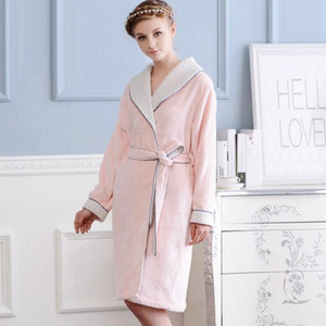 Noble Pink Thicken Flannel Women Bathrobe
