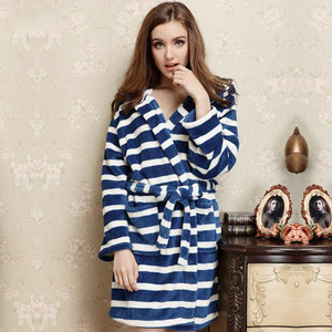 Sweet Blue Striped Flannel Women Bathrobe