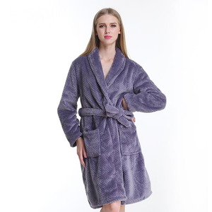 Timeless Violet Coral Velvet Long Sleeve Women Bathrobe