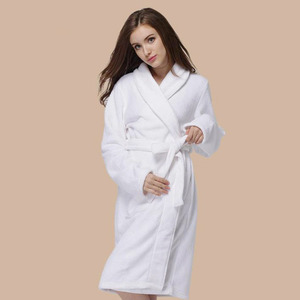 Simple White Knee Length Coral Velvet Bathrobe