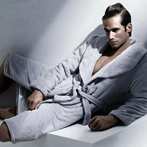 Gray Coral Velvet Long Men V Neck Bathrobe