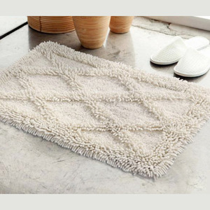 Beige Antiskid 30*20 Inch Cotton Bathroom Rug