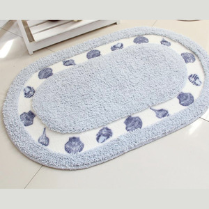 Natural Light Blue Polyester 20*31.5 Inch Oval Shaped Bathroom Rug