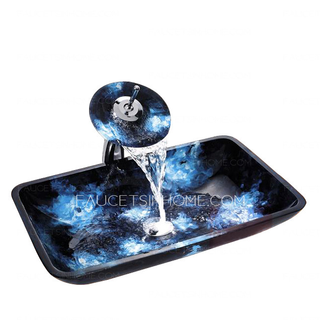 Black Glass Bath Sink Rectangular Single Sink With Faucet