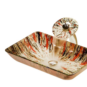 Rectangular Glass Basin Sinks Pattern Single Sink With Faucet