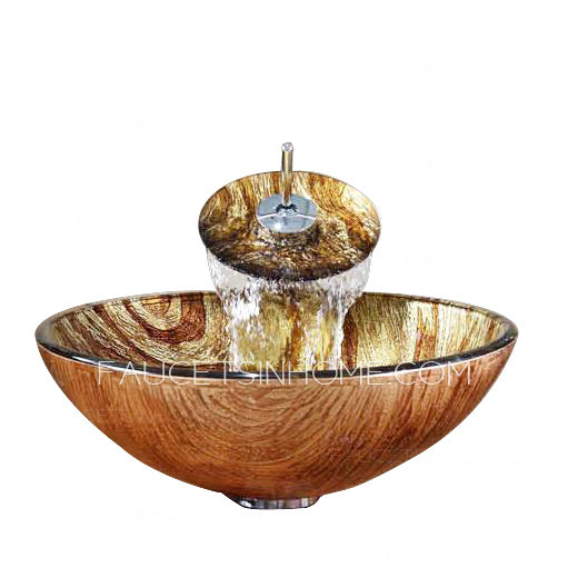 Brown Glass Basin Sink Single Round Bowl With Faucet Pattern