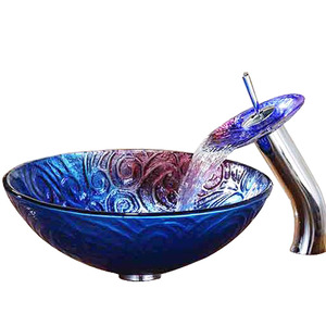 Artistic Blue Bath Sink Pattern Carved Single Bowl With Faucet
