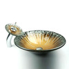 Artistic Round Glass Sinks Brown Single Bowl With Faucet