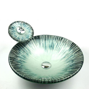 Round Bathroom Vessel Sinks Turquoise Single Bowl With Faucet