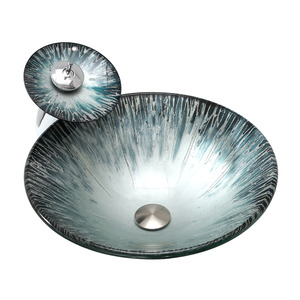 Silver Glass Basin Sinks Single Round Bowl With Faucet