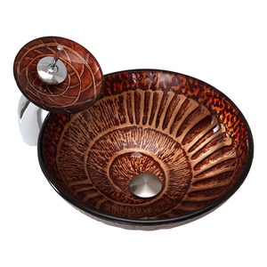 Brown Glass Round Basin Sink Single Bowl With Faucet