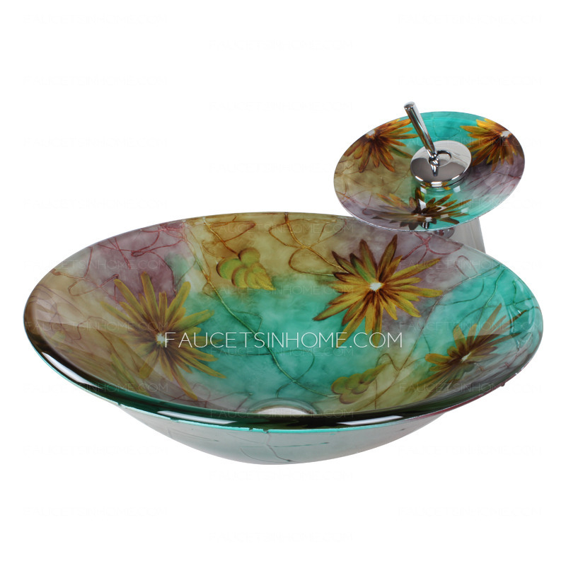 Green Round Glass Vessel Sink Single Bowl With Faucet